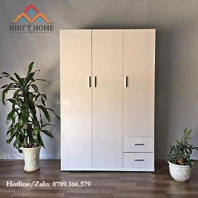 Tủ nhựa quần áo 3 cánh trắng M04 - Như Ý Home
